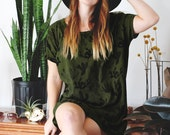 Back In Stock - Juniper Green Cactus - Big Tee tunic dress, hand printed tshirt dress, oversized tshirt, tshirt dress - by Simka Sol®
