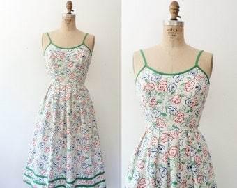 vintage sundress / vintage Lanz dress / Fine Flower dress