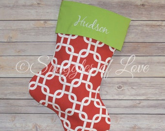 Personalized Red Christmas Stocking, Red Geometric Link Patterned Stocking, Embroidered Red Christmas Stocking Monogrammed Red Stocking
