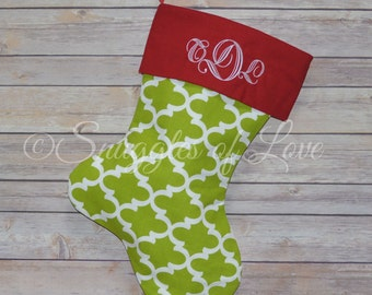 Personalized Quatrefoil Stocking - Green Quatrefoil Christmas Stocking, PERSONALIZED GREEN STOCKING, Elegant Green Christmas Stockings