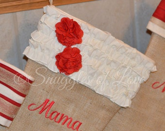Burlap Christmas Stocking, Personalized Burlap Stocking, Cream and Red Shabby Chic Stocking, Burlap with Cream Ruffles and Red Flowers