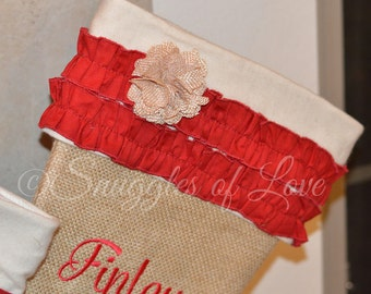 Burlap Stocking - Personalized Burlap Christmas Stocking - Cream and Red Stocking, Red Ruffles and Burlap Flower, Rustic Chic Stocking