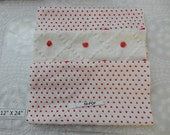 """Rare Red and white small popcorn Vintage Chenille 12 """" x 24"""" 3 pieces (50-POF)"""
