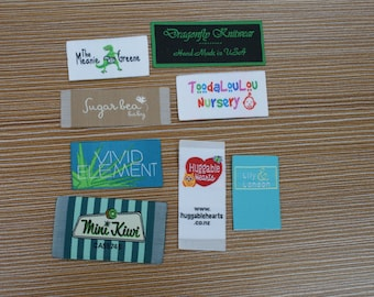 350X Custom Artwork Taffeta Clothing Woven Labels free font styles colors never fade - professional quality free design service and shipping