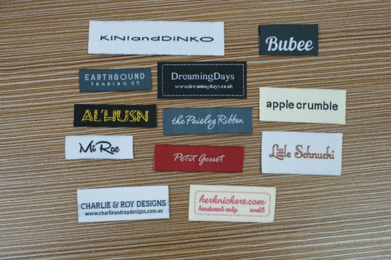 300X Custom Text Only Taffeta Clothing Woven Labels free font style colors never fade professional quality free design service and shipping