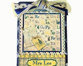 Teacher Gift Personalized Decorated Clipboard Vintage Alphabet
