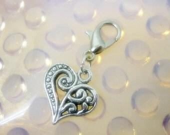 Silver Heart Clip Charm,Ornate Silver Heart Dangle clip Charm