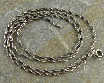 Artisan Oxidized Rustic Patina Sterling Silver 1.9 MM Twisted Chain - Helix Chain - 24 Inch With Clasp - One Piece - tcox24