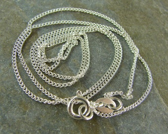 Tiny Bright Polished Sterling Silver Curb Chain - 16 Inch With Clasp - One Piece - curb16p