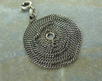 Tiny Oxidized and Hand Polished Sterling Silver Curb Chain - 16 Inch With Clasp - One Piece - curb160x