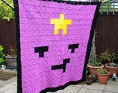 Lumpy Space Princess Inspired Crochet 8-Bit Blanket - Pixel Art - Pixel Blanket - Solid Granny Square - Crochet Afghan - Double Bed