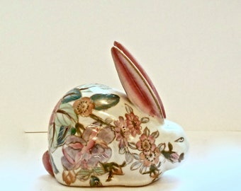 SALE 30% OFF  Vintage Chinese Ceramic Hand Painted Rabbit