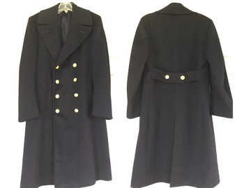 VINTAGE NAVY pea coat GABARDINE wool mens trench coat