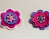 Pink and Purple Flowers Felt Hair Clip Set