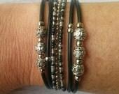 Women's Leather Bracelet// Black, Gray & Silver Miyuki Beaded Stacking Bracelet// Gift for Her Choose ONE Charm
