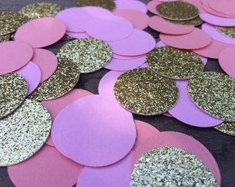 Pink coral gold Glitter Confetti- Circle Confetti - Wedding- Table Decor -Bridal Showers- Birthday party