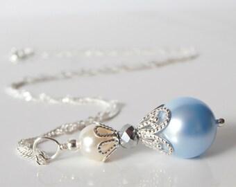 Light Blue Pearl Necklace, Bridesmaid Necklaces, Beaded Pendant, Swarovski Pearl Jewelry, Powder Blue Wedding Jewellery, Bridesmaid Gift