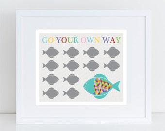 go your own way fish print nursery art, rainbow colourful kids art, finshing art, sea themed nursery decor, ocean animal artwork, baby decor
