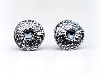 Silver Sea Urchin Earrings, Sea Shell Studs, Eco friendly Sterling Silver Stud Earrings, Beach, Natural, Oxidized Silver - SEA URCHIN