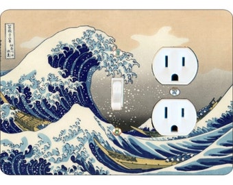 Kanagawa Great Wave Hokusai Painting Toggle Switch and Duplex Outlet Double Plate Cover