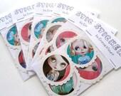 5x Kawaii Blythe stickers - Pastel Goth