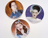 3x Spooky Movie stickers - Frankenstein Dorothy Wednesday