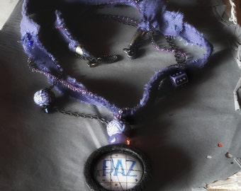 Pendant Paz Peace portuguese tile necklace assemblage
