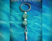 ON SALE Gemstone Keychain, Green Spotted Quartz, Goddess KeyChain, Key Fob