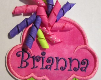 Iron On or Sew On Cupcake with Korker Bows and Embroidered Name - Custom Made Applique