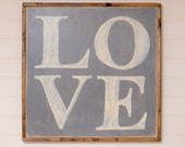 """Hand Painted Love Wall Art - 25""""x25"""" - Custom - Personalized - Distressed - Home Decor - Annie Sloan Chalk Paint"""