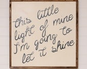 """Hand Painted - This little light of mine - Wood Wall Art - 25""""x25"""" - Custom - Personalized - Home Decor - Annie Sloan Chalk Paint"""