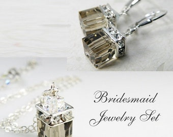Smoky Quartz Swarovski Crystal Jewelry Set, Sterling Silver, Gray Cube, Bridesmaid Necklace and Earrings, Bridal Party Gift, Wedding
