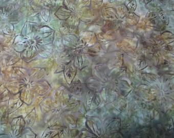 Green Gold Brown Batik Fabric - 2/3 yd - Robert Kaufman - Greenhouse
