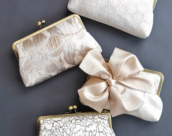 Bridesmaid Clutch Set | Personalized Gift for your Bridesmaids | Set of Clutches | Wedding Clutch [Set of 4 Clutches: Champagne & Ivory]