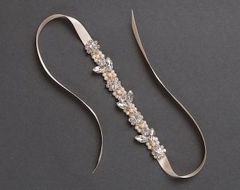 Pearl and Crystal Bridal Bracelet | Rose Gold Wedding Bracelet | Rhinestone Leaf Bracelet [Amara Bracelet]