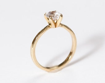 Solitaire Diamond Engagement Ring | Round Cut Moissanite Wedding Ring | Yellow Gold Anniversary Ring [The Madeleine Ring]