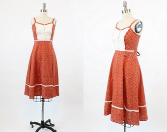 70s Dress Cotton XS / 1970s Vintage Floral Summer Dress / The Melanie Dress