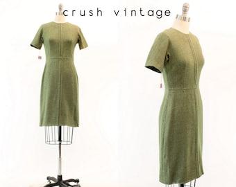 60s Dress Wool Deadstock XS / 1960s Vintage Lanz Green Mod Dress / Mossy Fields Dress