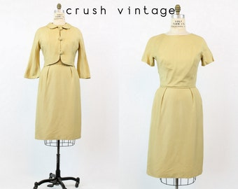 60s Silk Dress Medium / 1960s Vintage Golden Dress and Jacket / The Jackie Dress