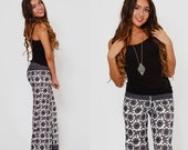 SALE Vintage 60s ETHNIC Print Pants Boho FLARE Pants Black & White Fitted Hippie Trousers Printed Bell Bottoms