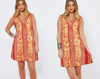 Vintage 90s ETHNIC Mini Dress Amber BATIK Boho Dress Cotton Hippie Tunic Dress Tie DYE Festival Dress