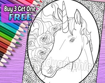 Unicorn - Adult Coloring Book Page - Printable Instant Download