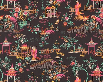 Liberty Fabric Peony Pavillion C Tana Lawn One Yard Black Brights Oriental