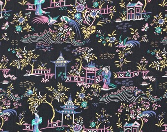 Liberty Fabric Autumn/Winter 2015 Peony Pavillion D Tana Lawn One Yard Black Pastel Oriental