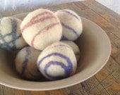Small Felted Wool Dryer Balls , Swirls Mix and Match