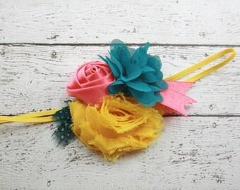 Coral teal yellow flower headband