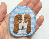 Textile Pet Brooch - Basset with beret - Funny Dogs - collection, hand embroidered textile dog jewelry