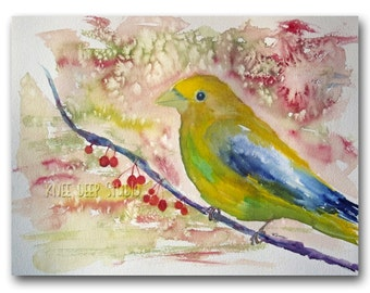 Fine Art for Sale Bird Watercolor Painting Contemporary Wall Decor  Modern Traditional Art 9x12 Evening Grosbeak Songbird Ready to Ship
