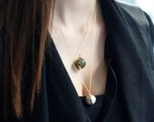 Aventurine Ball Necklace-Gold Plated Silver