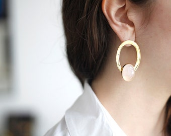 Rose Quartz Asymmetric Earrings-Gold Plated Brass